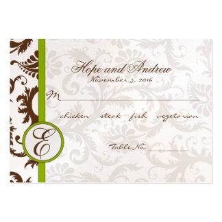 Green and Brown Damask Place Card Menu Selection Large Business Cards (Pack Of 100)