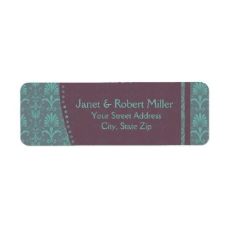 Green And Brown Damask Return Address Label
