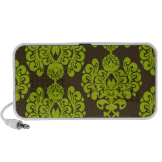 green and brown damask notebook speaker