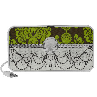 green and brown damask iPhone speakers