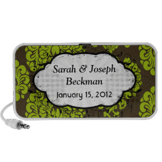green and brown damask portable speakers