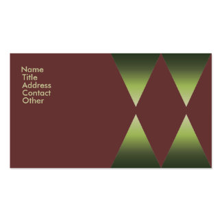 Green and Brown Diamond Pattern Business Card Templates