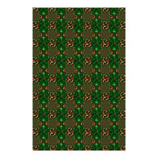 Green And Brown Digital Abstract Pattern Art Custom Stationery