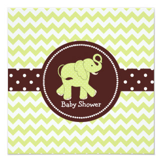 Green and Brown Elephant Couple's Baby Shower 5.25x5.25 Square Paper Invitation Card