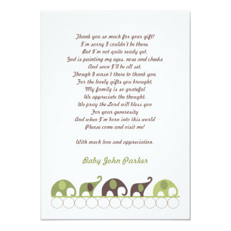 Green and Brown Elephant Thank You Note with poem Card
