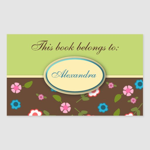 Green and Brown Floral Daisy Book Plate Name Label Rectangular Sticker