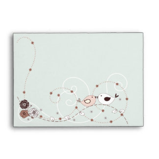 Green and Brown Flowers & Lovebirds A6 Envelopes