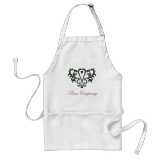 Green And Brown Heart Damask Adult Apron