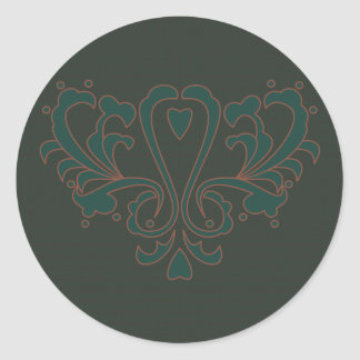 Green And Brown Heart Damask Classic Round Sticker