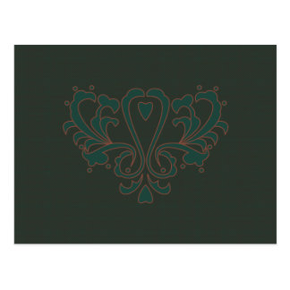 Green And Brown Heart Damask Postcard