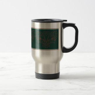 Green And Brown Heart Damask Travel Mug