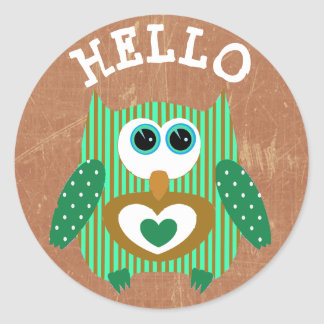 Green and Brown Hello Owl Cute Adorable Stickers