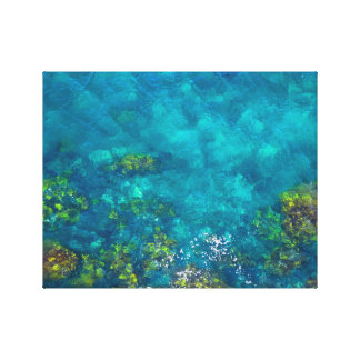 Green and Brown in the Aqua Blue Sea Canvas Print