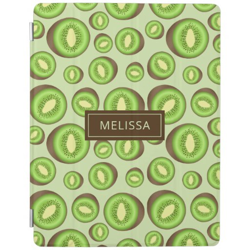 Green And Brown Kiwifruit Pattern With Custom Name iPad Smart Cover