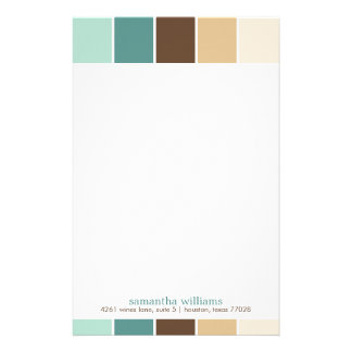 Green and Brown Modern Decorative Color Blocks Stationery