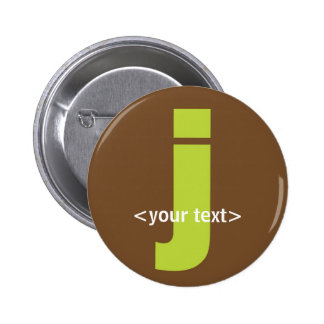 Green and Brown Monogram - Letter J Pinback Button