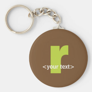 Green and Brown Monogram - Letter R Basic Round Button Keychain