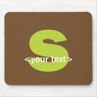 Green and Brown Monogram - Letter S Mouse Pad