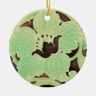 Green and Brown Noveau Floral Ornament