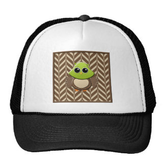 Green and Brown Owl on Brown and Tan Hats