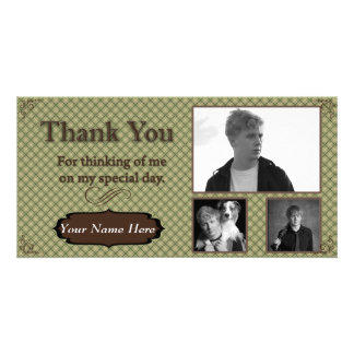 Green and Brown Plaid Photo Thank You Card