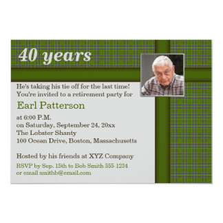 Green and Brown Plaid, Retirement Invitation