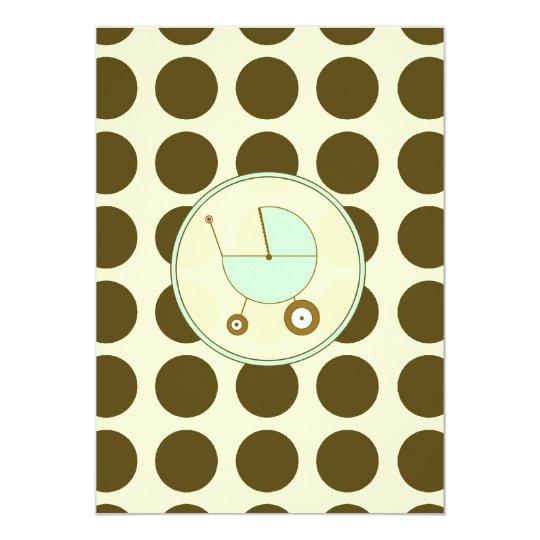 Green and Brown Polka Dot Baby Shower Invitation