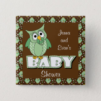 Green and Brown Polka Dot Owl | Baby Shower Theme Button