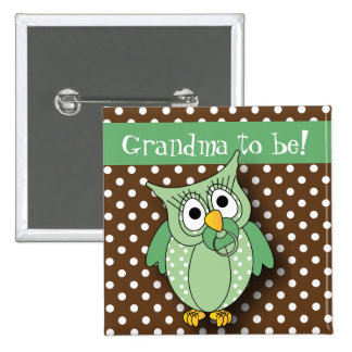 Green and Brown Polka Dot Owl Baby Shower Theme Button