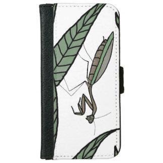 Green And Brown Praying Mantis Illustration iPhone 6 Wallet Case