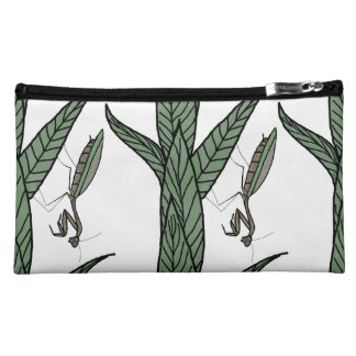 Green And Brown Praying Mantis On Green Leaves Cosmetic Bag
