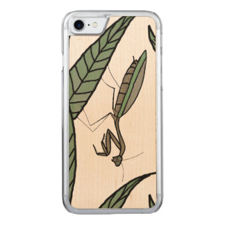 Green And Brown Praying Mantis On Green Leaves Carved iPhone 8/7 Case