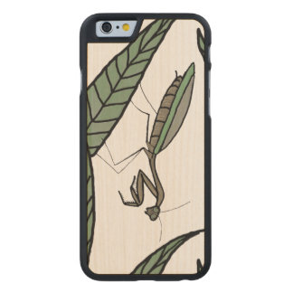 Green And Brown Praying Mantis On Green Leaves Carved® Maple iPhone 6 Slim Case
