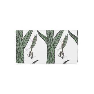 Green And Brown Praying Mantis On Green Leaves Checkbook Cover