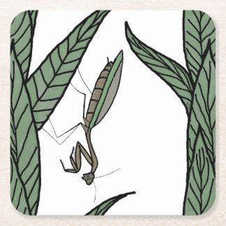Green And Brown Praying Mantis On Green Leaves Square Paper Coaster