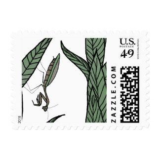 Green And Brown Praying Mantis On Green Leaves Stamp