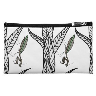 Green And Brown Praying Mantis On Leaves Cosmetic Bag