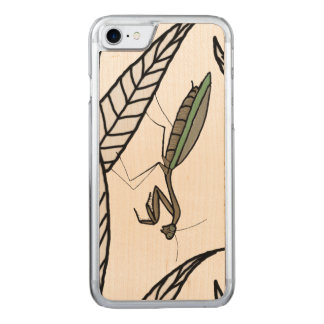 Green And Brown Praying Mantis On Leaves Carved iPhone 8/7 Case