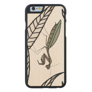 Green And Brown Praying Mantis On Leaves Carved Maple iPhone 6 Case