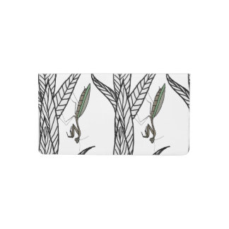 Green And Brown Praying Mantis On Leaves Checkbook Cover