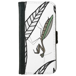 Green And Brown Praying Mantis On Leaves Wallet Phone Case For iPhone 6/6s