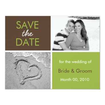 Beach Themed Green and Brown Save the Date Photo Cards