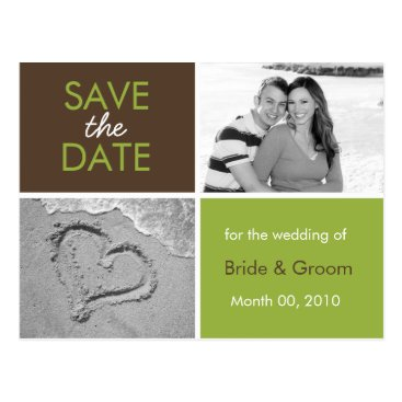 Beach Themed Green and Brown Save the Date Photo Postcards
