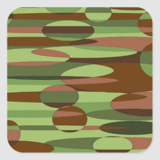 Green and Brown Spheres Square Sticker