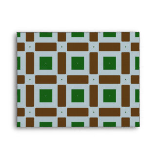 Green and Brown Squares Envelope