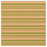 [ Thumbnail: Green and Brown Stripes Pattern Fabric ]