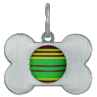 Green and brown stripes pet name tag
