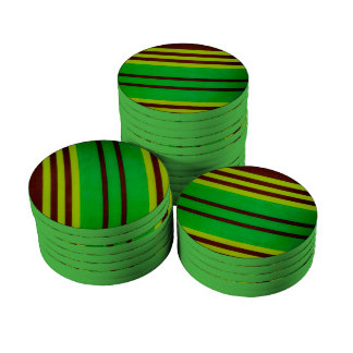 Green and brown stripes poker chips set