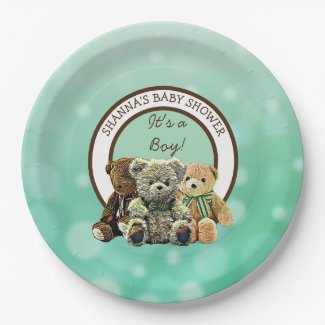 Green and Brown Teddy Bear Boy's Baby Shower Paper Plate