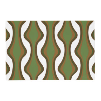 Green and brown vertical waves placemat